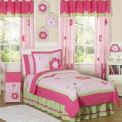Pink and Green Flower Childrens Bedding - 4pc Twin Set