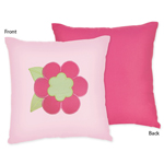 Pink and Green Flower Decorative Accent Throw Pillow by Sweet Jojo Designs