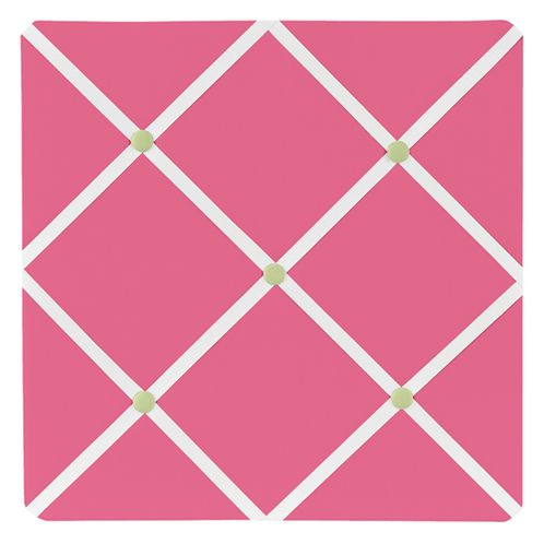 Pink and Green Flower Fabric Memory/Memo Photo Bulletin Board - Click to enlarge