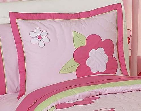 Pink and Green Flower Pillow Sham - Click to enlarge