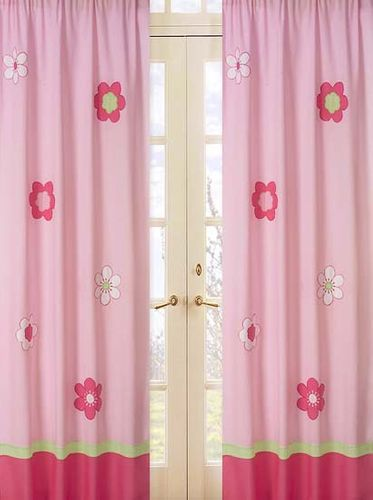Pink and Green Flower Window Treatment Panels - Set of 2 - Click to enlarge