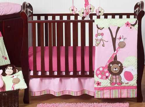Pink and Green Girls Jungle Baby Bedding - 11pc Crib Set - Click to enlarge