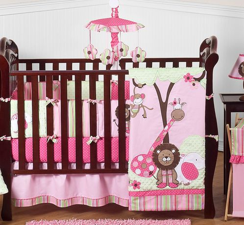 Pink And Green Girls Jungle Baby Bedding 9pc Crib Set Only 18999
