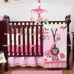 Pink and Green Girls Jungle Baby Bedding - 9pc Crib Set