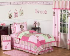 Pink and Green Girls Jungle Kids Bedding - 3pc Full / Queen Set