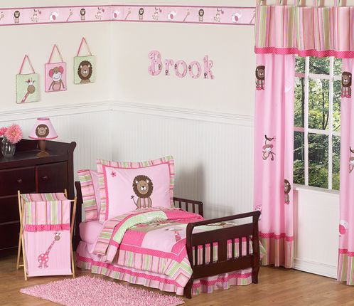 Pink and Green Girls Jungle Toddler Bedding - 5pc Set - Click to enlarge