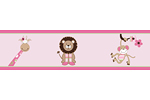 Pink and Green Jungle Friends Children and Kids Wall Border by Sweet Jojo Designs