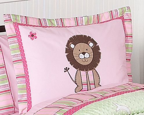 Pink and Green Jungle Friends Girls Pillow Sham - Click to enlarge