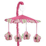 Pink and Green Jungle Friends Musical Baby Crib Mobile by Sweet Jojo Designs