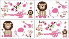 Pink and Green Jungle Friends Peel and Stick Wall Decal Stickers Art Nursery Decor by Sweet Jojo Designs - Set of 4 Sheets