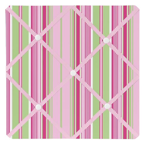 Pink and Green Jungle Friends Stripe Fabric Memory/Memo Photo Bulletin Board - Click to enlarge
