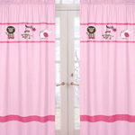 Pink and Green Jungle Friends Window Treatment Panels - Set of 2