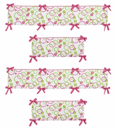 Pink and Green Mod Circles Collection Crib Bumper by Sweet Jojo Designs