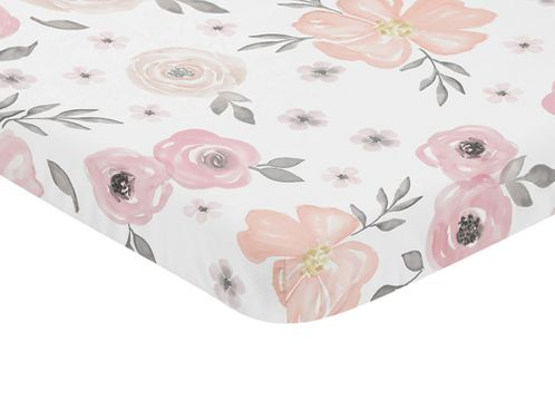 Pink and Grey Baby Fitted Mini Portable Crib Sheet Watercolor Floral Collection by Sweet Jojo Designs - Click to enlarge
