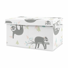 Pink and Grey Jungle Sloth Girl Small Fabric Toy Bin Storage Box Chest For Baby Nursery or Kids Room by Sweet Jojo Designs - Blush, Turquoise, Gray and Green Tropical Botanical Rainforest Leaf