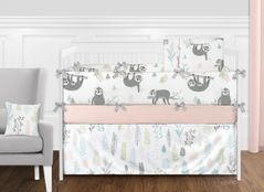 Pink and Grey Jungle Sloth Leaf Baby Girl Nursery Crib Bedding Set with Bumper by Sweet Jojo Designs - 9 pieces - Blush, Turquoise, Gray and Green Tropical Botanical Rainforest