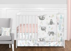 Pink and Grey Jungle Sloth Leaf Baby Girl Nursery Crib Bedding Set without Bumper by Sweet Jojo Designs - 11 pieces - Blush, Turquoise, Gray and Green Tropical Botanical Rainforest