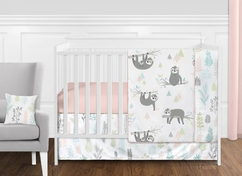Pink and Grey Jungle Sloth Leaf Baby Girl Nursery Crib Bedding Set without Bumper by Sweet Jojo Designs - 11 pieces - Blush, Turquoise, Gray and Green Tropical Botanical Rainforest - Click to enlarge