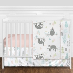 Pink and Grey Jungle Sloth Leaf Baby Girl Nursery Crib Bedding Set without Bumper by Sweet Jojo Designs - 4 pieces - Blush, Turquoise, Gray and Green Tropical Botanical Rainforest