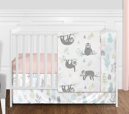 Pink and Grey Jungle Sloth Leaf Baby Girl Nursery Crib Bedding Set without Bumper by Sweet Jojo Designs - 4 pieces - Blush, Turquoise, Gray and Green Tropical Botanical Rainforest - Click to enlarge