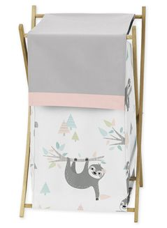Pink and Grey Jungle Sloth Leaf Baby Kid Clothes Laundry Hamper by Sweet Jojo Designs - Blush, Turquoise, Gray and Green Botanical Rainforest