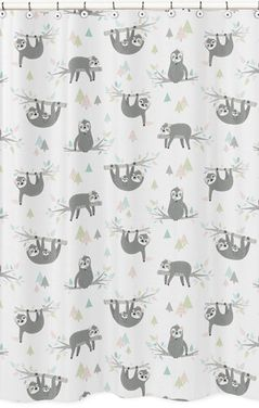 Pink and Grey Jungle Sloth Leaf Bathroom Fabric Bath Shower Curtain by Sweet Jojo Designs - Blush, Turquoise, Gray and Green Botanical Rainforest