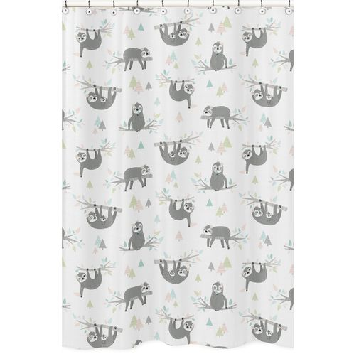 Pink and Grey Jungle Sloth Leaf Bathroom Fabric Bath Shower Curtain by Sweet Jojo Designs - Blush, Turquoise, Gray and Green Botanical Rainforest - Click to enlarge
