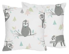 Pink and Grey Jungle Sloth Leaf Decorative Accent Throw Pillows by Sweet Jojo Designs - Set of 2 - Blush, Turquoise, Gray and Green Tropical Botanical Rainforest