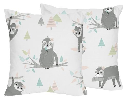 Pink and Grey Jungle Sloth Leaf Decorative Accent Throw Pillows by Sweet Jojo Designs - Set of 2 - Blush, Turquoise, Gray and Green Tropical Botanical Rainforest - Click to enlarge