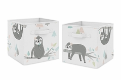 Pink and Grey Jungle Sloth Leaf Foldable Fabric Storage Cube Bins Boxes Organizer Toys Kids Baby Childrens by Sweet Jojo Designs - Set of 2 - Blush, Turquoise, Gray and Green Tropical Botanical Rainforest