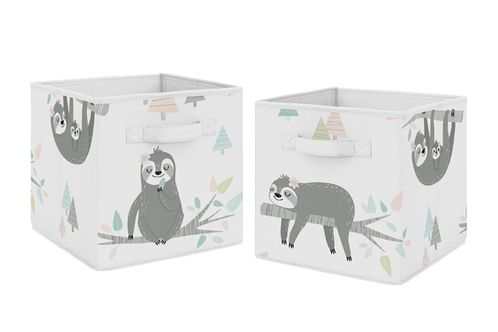 Pink and Grey Jungle Sloth Leaf Foldable Fabric Storage Cube Bins Boxes Organizer Toys Kids Baby Childrens by Sweet Jojo Designs - Set of 2 - Blush, Turquoise, Gray and Green Tropical Botanical Rainforest - Click to enlarge
