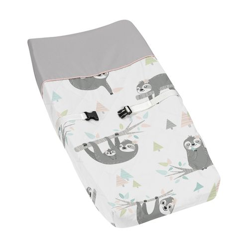 Pink and Grey Jungle Sloth Leaf Girl Baby Nursery Changing Pad Cover by Sweet Jojo Designs - Blush, Turquoise, Gray and Green Botanical Rainforest - Click to enlarge