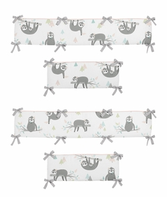 Pink and Grey Jungle Sloth Leaf Girl Baby Nursery Crib Bumper Pad by Sweet Jojo Designs - Blush, Turquoise, Gray and Green Tropical Botanical Rainforest