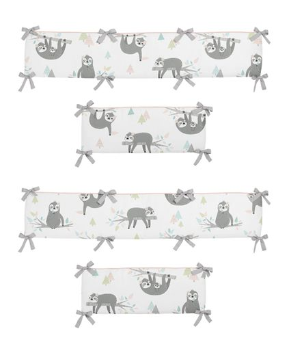Pink and Grey Jungle Sloth Leaf Girl Baby Nursery Crib Bumper Pad by Sweet Jojo Designs - Blush, Turquoise, Gray and Green Tropical Botanical Rainforest - Click to enlarge