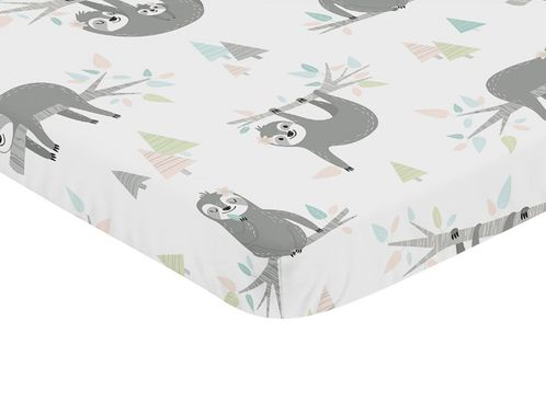 Pink and Grey Jungle Sloth Leaf Girl Baby Nursery Fitted Mini Portable Crib Sheet by Sweet Jojo Designs For Mini Crib or Pack and Play - Blush, Turquoise, Gray and Green Botanical Rainforest - Click to enlarge