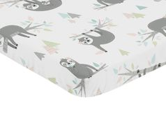 Pink and Grey Jungle Sloth Leaf Girl Baby Nursery Fitted Mini Portable Crib Sheet by Sweet Jojo Designs For Mini Crib or Pack and Play - Blush, Turquoise, Gray and Green Botanical Rainforest