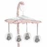 Pink and Grey Jungle Sloth Leaf Girl Baby Nursery Musical Crib Mobile by Sweet Jojo Designs - Blush, Turquoise, Gray and Green Botanical Rainforest