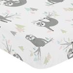 Pink and Grey Jungle Sloth Leaf Girl Baby or Toddler Nursery Fitted Crib Sheet by Sweet Jojo Designs - Blush, Turquoise, Gray and Green Botanical Rainforest