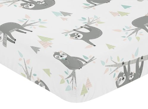 Pink and Grey Jungle Sloth Leaf Girl Baby or Toddler Nursery Fitted Crib Sheet by Sweet Jojo Designs - Blush, Turquoise, Gray and Green Botanical Rainforest - Click to enlarge
