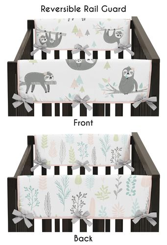 Pink and Grey Jungle Sloth Leaf Girl Side Crib Rail Guards Baby Teething Cover Protector Wrap by Sweet Jojo Designs - Set of 2 - Blush, Turquoise, Gray and Green Botanical Rainforest - Click to enlarge