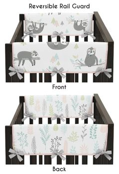 Pink and Grey Jungle Sloth Leaf Girl Side Crib Rail Guards Baby Teething Cover Protector Wrap by Sweet Jojo Designs - Set of 2 - Blush, Turquoise, Gray and Green Botanical Rainforest