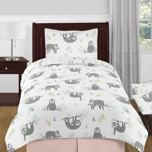 Pink and Grey Jungle Sloth Leaf Girl Twin Size Kid Childrens Bedding Comforter Set by Sweet Jojo Designs - 4 pieces - Blush, Turquoise, Gray and Green Tropical Botanical Rainforest - Click to enlarge