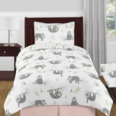 Pink and Grey Jungle Sloth Leaf Girl Twin Size Kid Childrens Bedding Comforter Set by Sweet Jojo Designs - 4 pieces - Blush, Turquoise, Gray and Green Tropical Botanical Rainforest