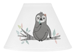 Pink and Grey Jungle Sloth Leaf Lamp Shade by Sweet Jojo Designs - Blush, Turquoise, Gray and Green Botanical Rainforest
