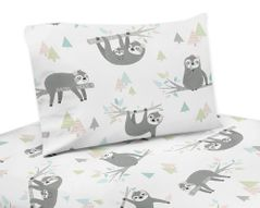 Pink and Grey Jungle Sloth Leaf Queen Sheet Set by Sweet Jojo Designs - 4 piece set - Blush, Turquoise, Gray and Green Botanical Rainforest