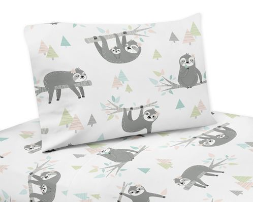 Pink and Grey Jungle Sloth Leaf Queen Sheet Set by Sweet Jojo Designs - 4 piece set - Blush, Turquoise, Gray and Green Botanical Rainforest - Click to enlarge
