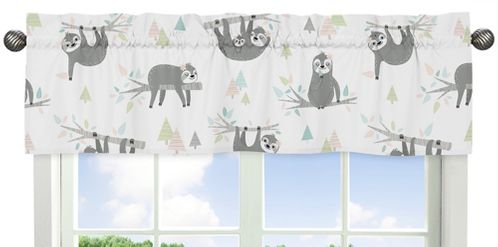 Pink and Grey Jungle Sloth Leaf Window Treatment Valance by Sweet Jojo Designs - Blush, Turquoise, Gray and Green Botanical Rainforest - Click to enlarge
