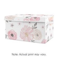 Pink and Grey Rose Flower Girl Baby Nursery or Kids Room Small Fabric Toy Bin Storage Box Chest for Watercolor Floral Collection by Sweet Jojo Designs