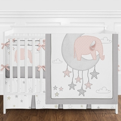 Pink and Grey Safari Elephant Baby Girl Nursery Crib Bedding Set with Bumper by Sweet Jojo Designs - 9 pieces - Blush Gray White Gold Star Moon Cloud