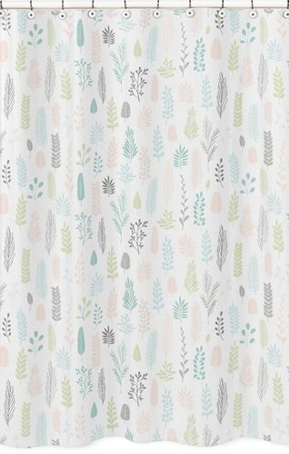 Pink and Grey Tropical Leaf Bathroom Fabric Bath Shower Curtain by Sweet Jojo Designs - Blush, Turquoise, Gray and Green Botanical Rainforest Jungle Sloth Collection - Click to enlarge
